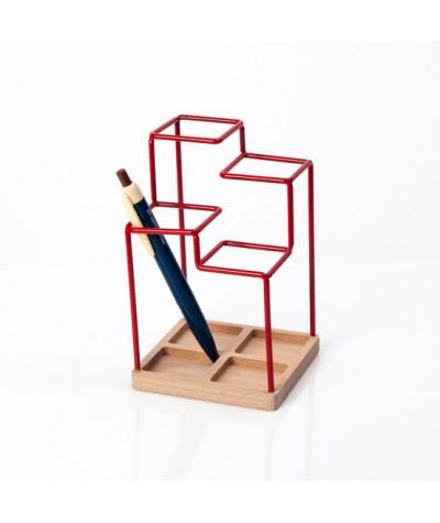 PORTE-CRAYONS - BLOCK DESIGN - RED