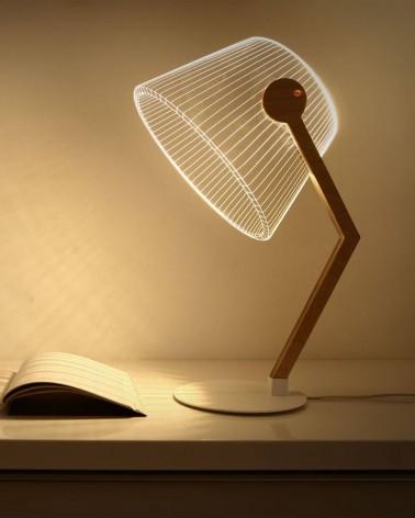 Lampe à poser/ bureau LED Blanc & Bois 3D - BY BULBING ZIGGI - L'interprète Concept Store