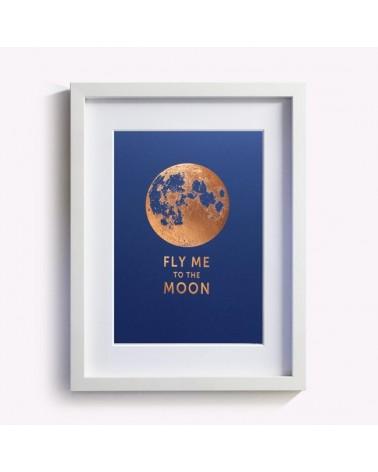 Affiche Fly me to the moon signée Les Editions du Paon - L'interprète Concept Store