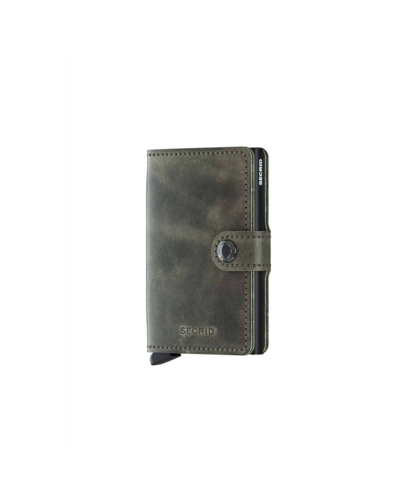 Portefeuille Miniwallet Vintage Olive-Black - Perforated black - L'interprète Concept Store