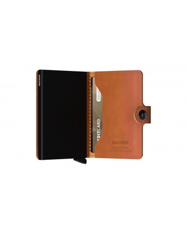 Portefeuille Miniwallet Secrid Cuir Cognac - Perforated black - L'interprète Concept Store