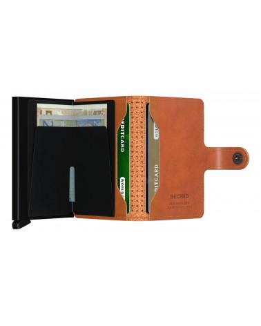 Portefeuille Miniwallet Secrid Cuir Cognac - Perforated black - L'interprète Concept Store
