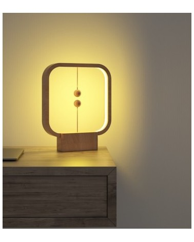 Lampe Heng - Balance carrée bois avec interrupteur en lévitation - L'interprète Concept Store