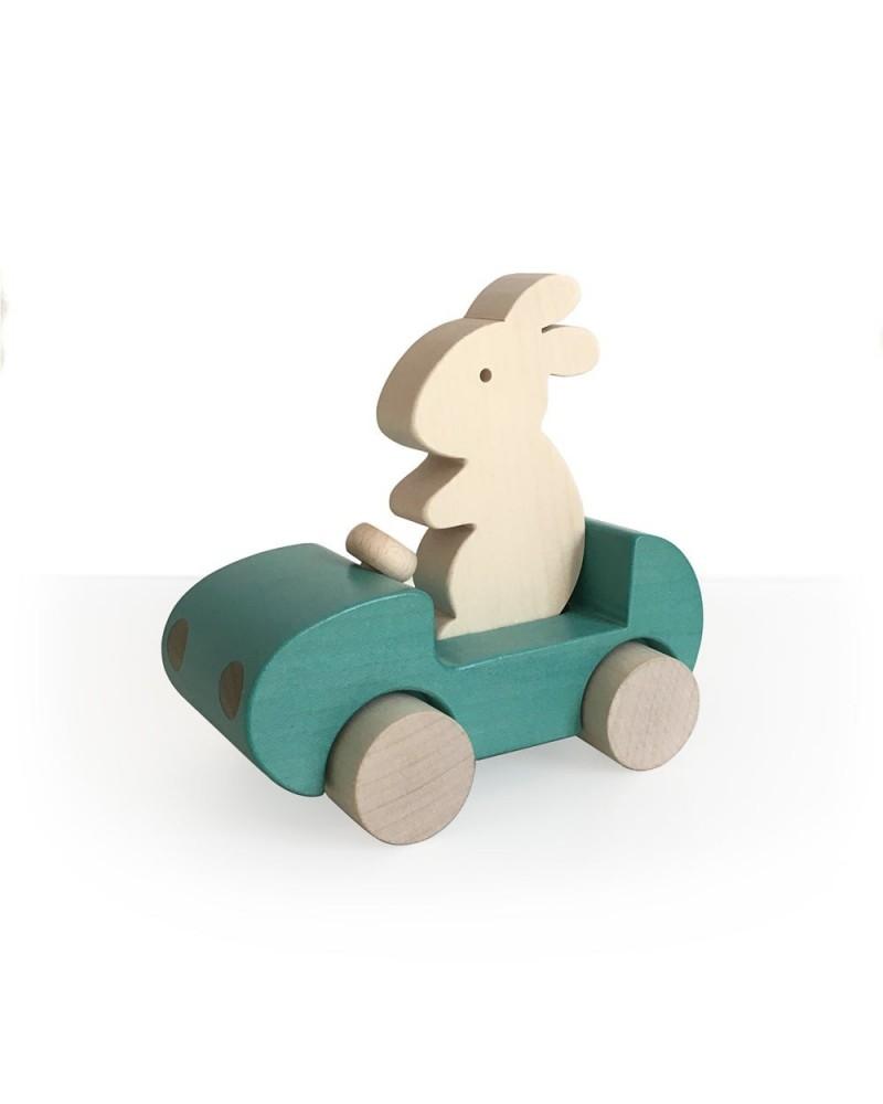 BRIKI VROUM VROM - BUNNY CAR - TURQUOISE - JOUET EN BOIS - L'interprète Concept Store