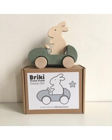 BRIKI VROUM VROM - BUNNY CAR - GRIS- JOUET EN BOIS - L'interprète Concept Store