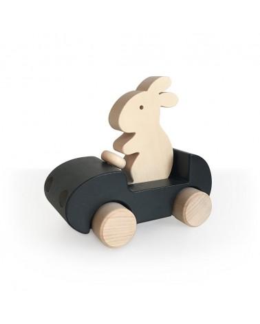 BRIKI VROUM VROM - BUNNY CAR - NOIR - JOUET EN BOIS - L'interprète Concept Store