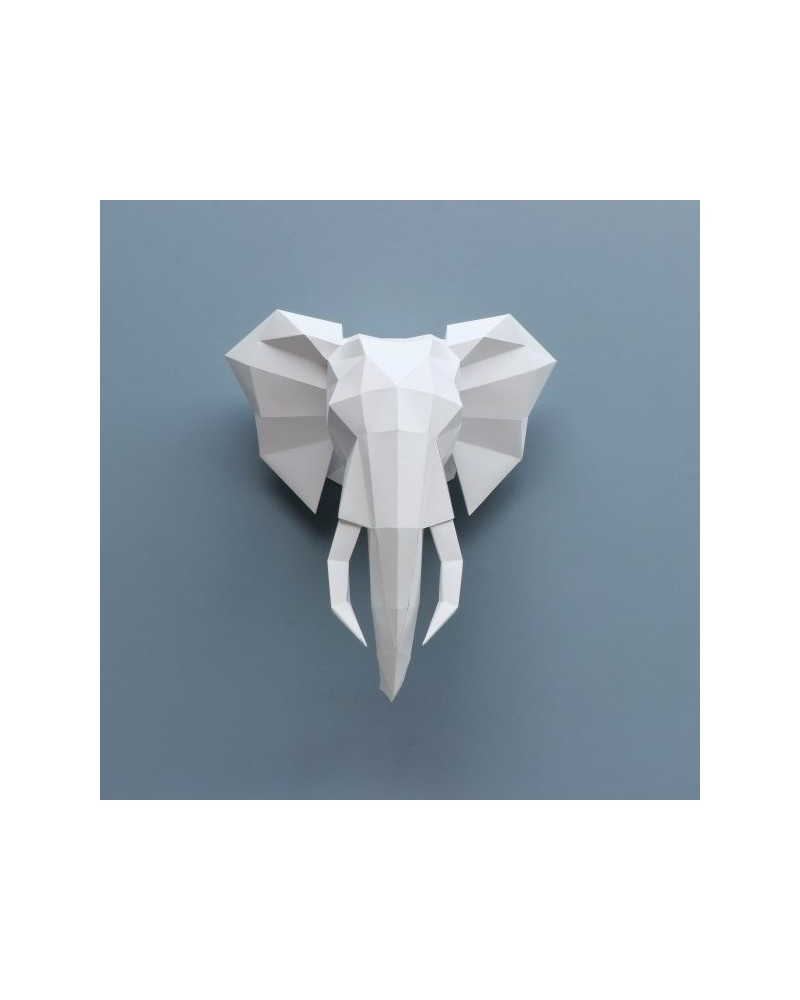 TROPHÉE ORIGAMI PAPIER - ASSEMBLI - ELEPHANT white